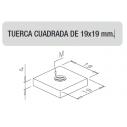 TUERCA M8 CUADRADA DE 19x19 mm.